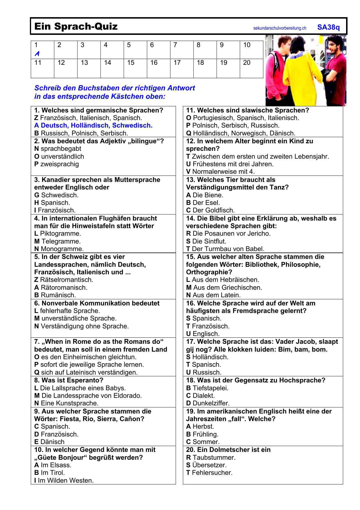 Arbeitsblätter Deutsch Sekundarschulvorbereitung